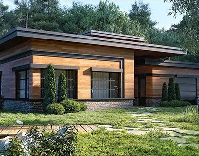 """""""House in the Woods"""" The exterior visualization"""