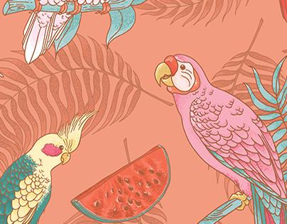 Parakeet Café Wallpapers