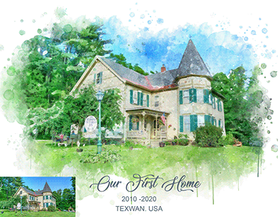 I will paint a watercolor portrait of your house