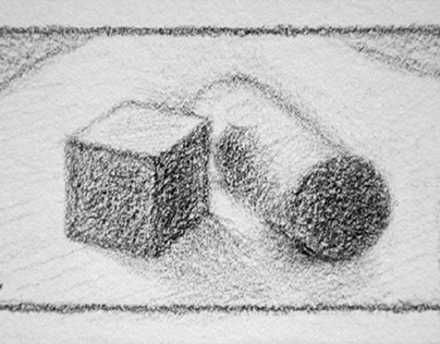 Sketch of geometric shapes with graphite pencil