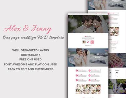 Alex & Jenny - One page Wedding Template