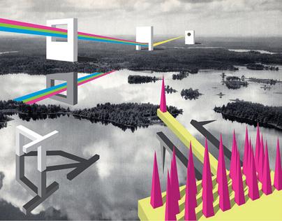 Illustration: Utopian Cut-paper Collage