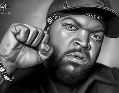Ice Cube Digital Oil Painting by Wayne Flint