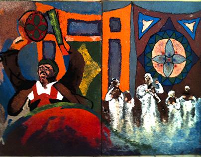 A mural of folk art