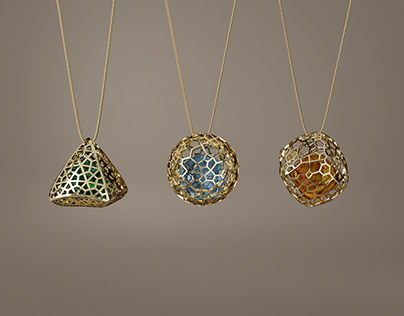 Geometric Pendants - Wireframe Series - Jewelry Design