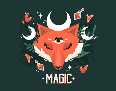Magical Moon Fox pattern design