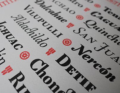 Especimen tipográfico Iglesias de Chiloé