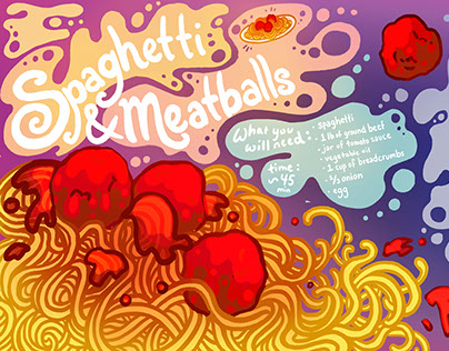 Spaghetti and Meatballs Recipe Illustration