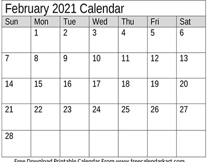 Free Download February 2021 Calendar Monthly Template