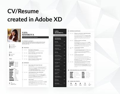Curriculum Vitae | Resume in Adobe XD