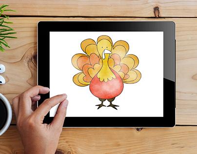 Watercolor Thanksgiving Trukey Vector
