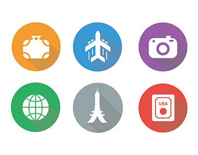 Travel Icons - Flat Illustration