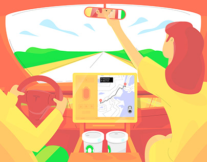 Tesla Model 3 Navigation Autopilot (animation)