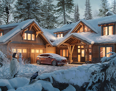 Snowy forest house