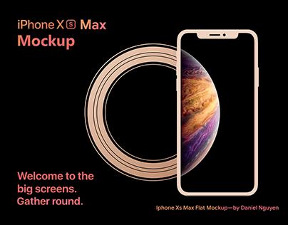 Free Mockup - iPhone Xs Max Flat PSD