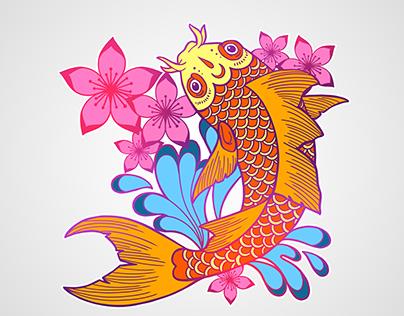 Koi Fish Illustration T-shirt Graphic