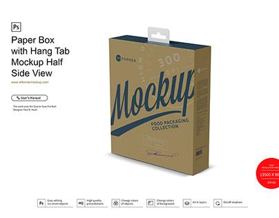 Paper Box with Hang Tab Mockup Half Side View