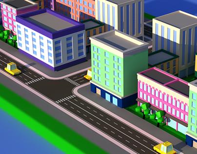 Low poly city, 3d assets.