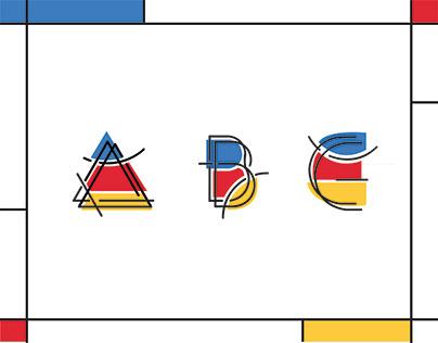 De Stijl Alphabet Poster