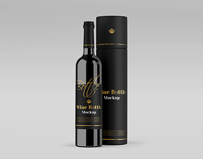 Wine bottle mockup with round box in PSD