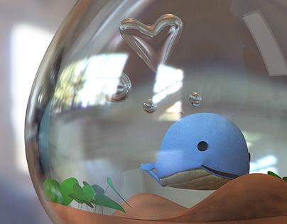 3D blue whale in a light bulb
