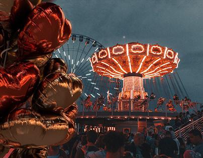 Foil Heart Balloons in amusement park