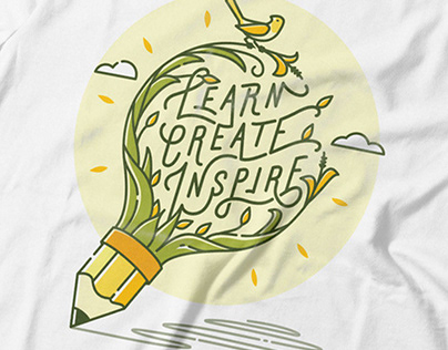 Learn, Create, Inspire T-shirt Illustration