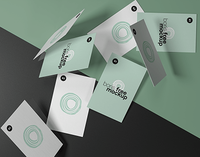 Free PSD Falling Business Cards Mockup
