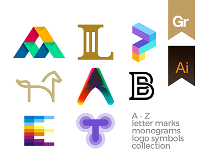 ALPHABET: A-Z letter marks, logo symbols collection