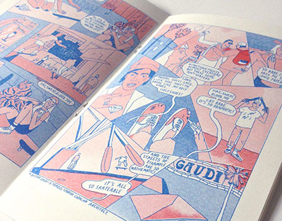 """Lucy the confused girl and Barcelona"" riso zine"
