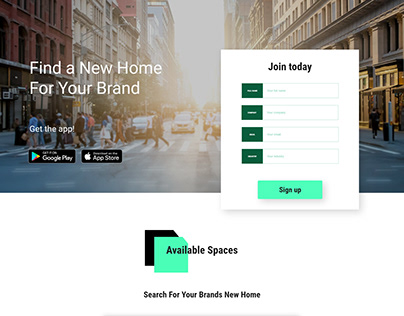 Clean Sign up Landing Page with Space Listing