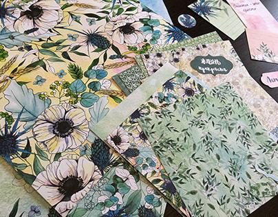 Anemones. Scrapbooking paper collection.