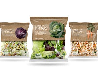 Ellinikos Kipos salads packaging