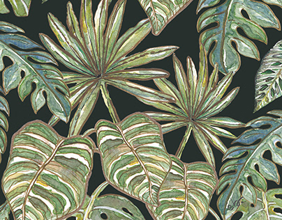 Soft green leaves in a Jungle_watercolor painting