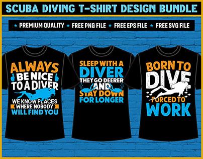 Scuba Diving T-Shirt Design Bundle