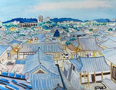 Watercolor on Wednesday - Jeonju Hanok Village / 수채화,전주