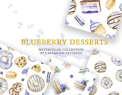 Watercolor Sweet Projects. Blueberry desserts: cliparts