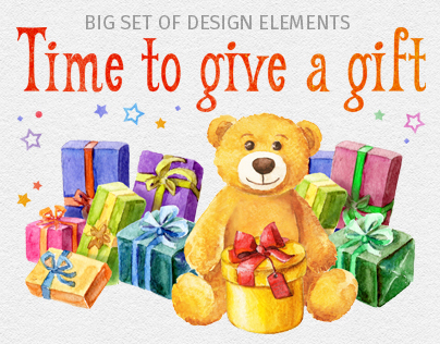 """""""Time to give a gift"""" set of design elements"""