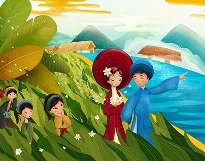 Spring Illustration (Mua Xuan Chin poem)