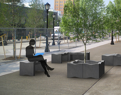 Concrete block, Street furniture design.