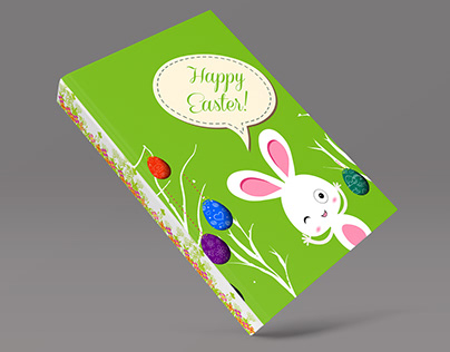 Happy Easter Rabbit and Egg illustration for Notebook