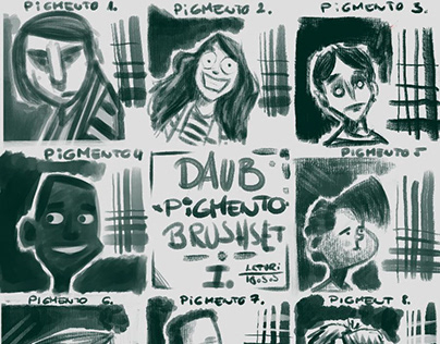 DAUB Pigmento brushset, reference face sketches