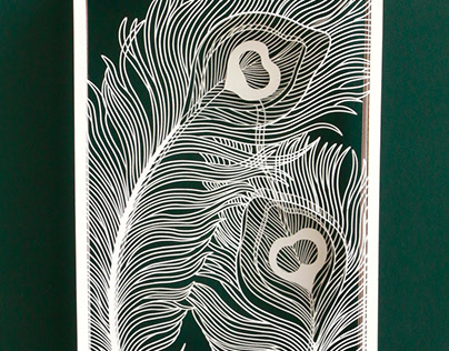 Paper Cutting Art - Peacock Feather