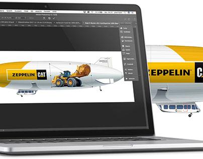 Airship branding Zeppelin Baumaschinen