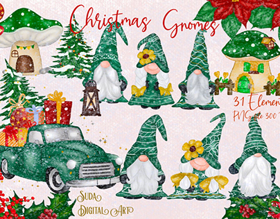 Green Gnomes Christmas Design Clipart