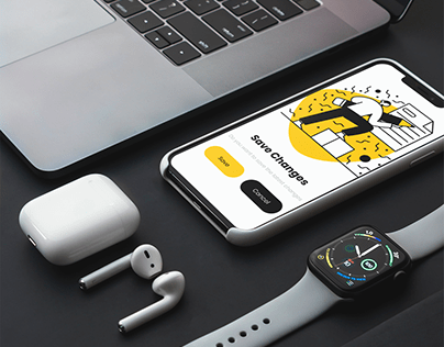 Minimalistic UI with yellow and black