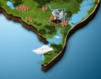 Mapa 3D do RS com foco na metade sul