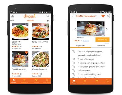 AllRecipes Mobile App Redesign (Concept)