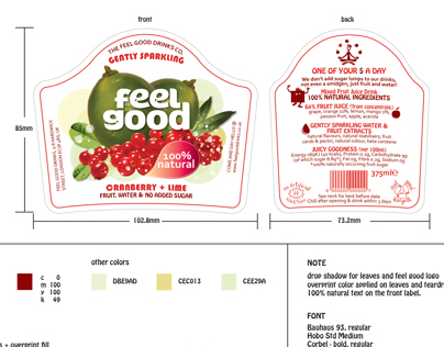 Feel Good Drinks Packaging label design