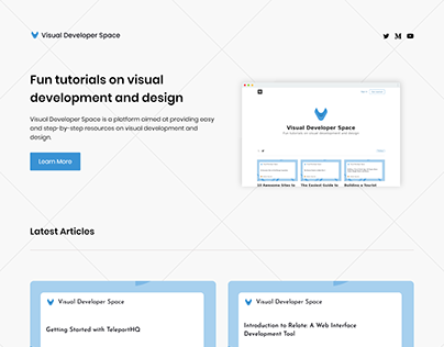 Visual Developer Space Landing Page